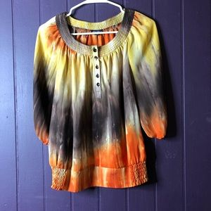 small tie dye blouse round neck 3/4 sleeves